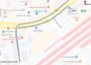 Fußweg vom Hauptbahnhof zur Praxis